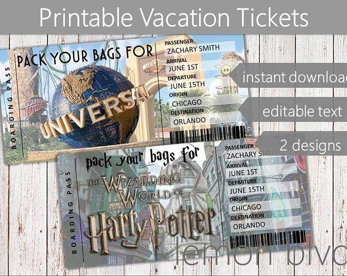 Surprise Trip Ticket To Paradise Tropical Vacation Tickets Etsy Universal Studios Tickets Surprise Trip Reveal Disney Trip Surprise