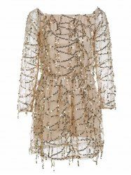 Stylish Sequined Off The Shoulder Long Sleeve Dress For Women - GOLDEN S