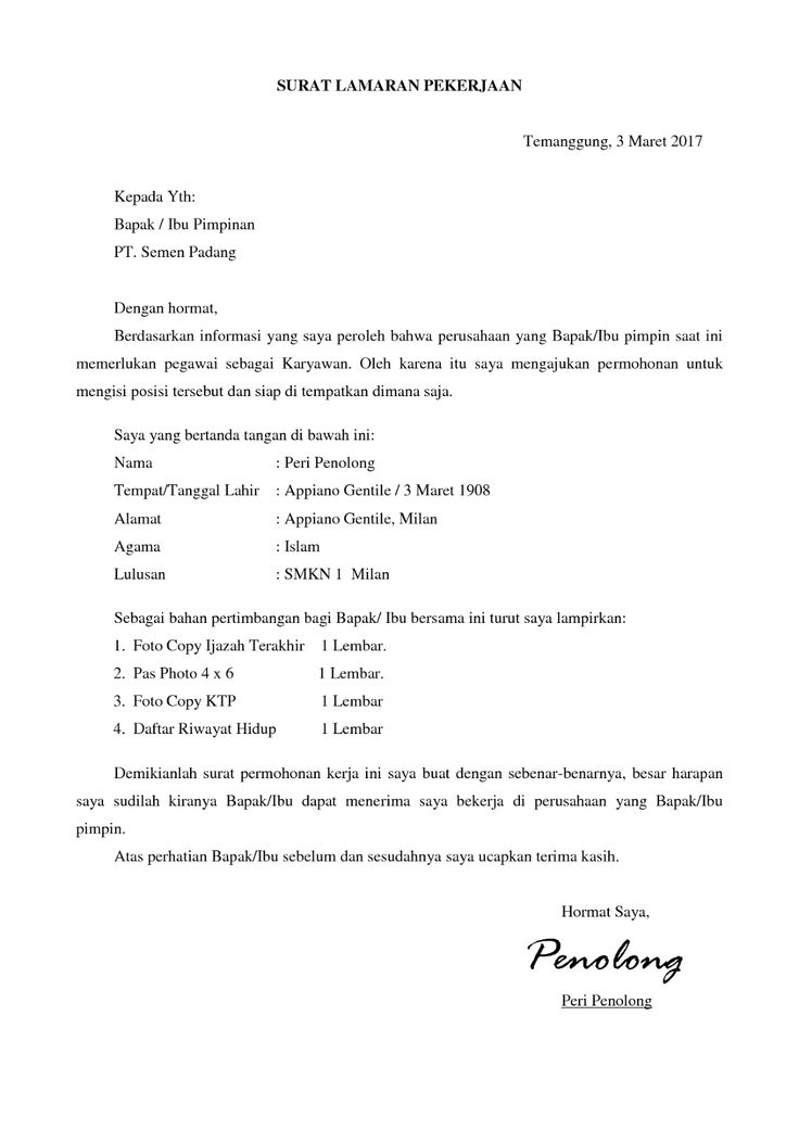 Contoh Surat Lamaran Pt Iss