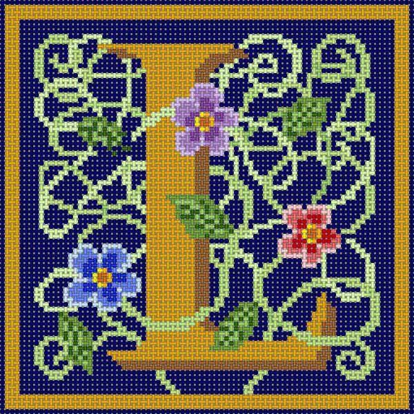 Gold & Wildflower monogram L