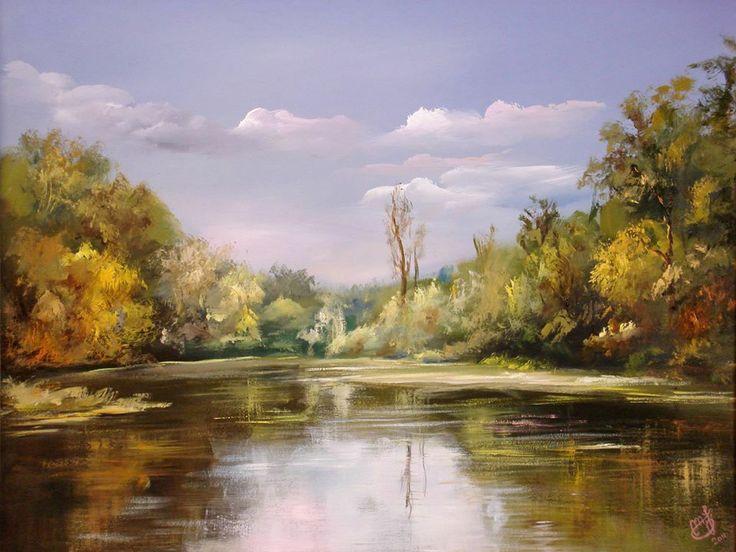"""Maksai János """"Vízparti fények"""" c. alkotása"""