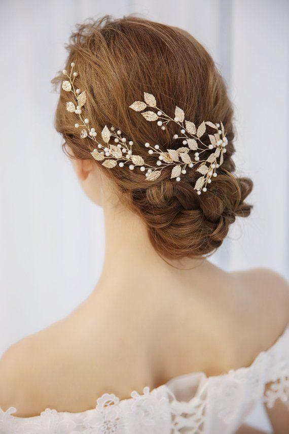 Pearl Leaf Bridal Hair Vine Bride Crystal Headband Wedding Hair Accessories
