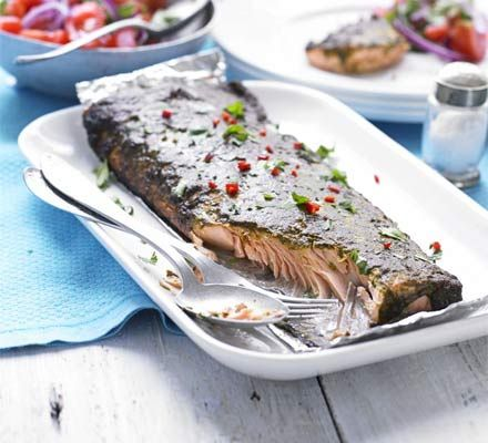 Heart healthy and a good source of omega-3, chermoula will make an exotic addition to this barbecued fish