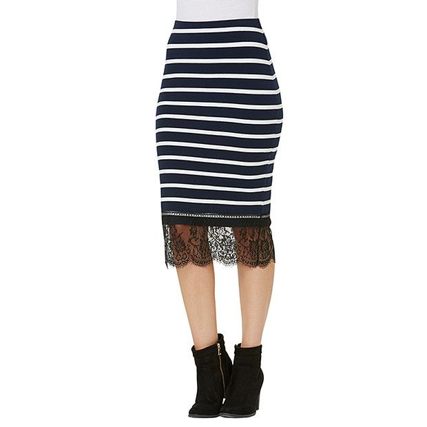 Lily Loves Lace Trim Pencil Skirt - Stripe