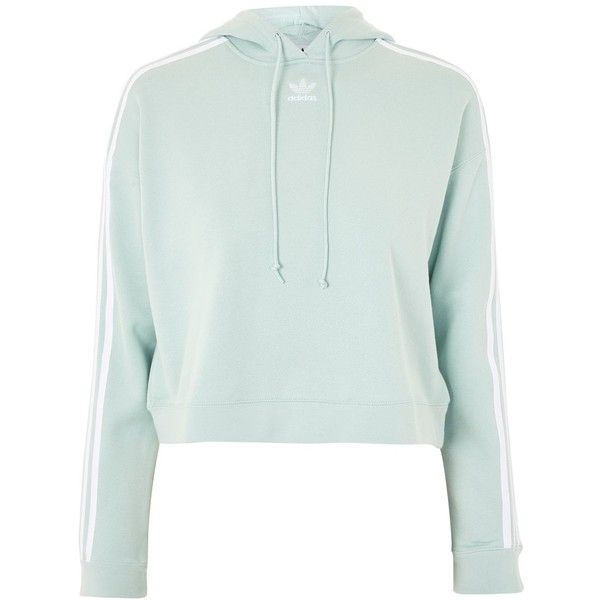 Cropped Hoodie by Adidas Originals ($85) ❤ liked on Polyvore featuring tops, hoodies, cropped hoodies, cotton crop top, hoodie crop top, cotton hoodie and green hooded sweatshirt