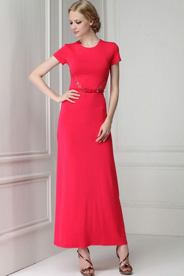 Lace Paneled Back Slit Belted Dress