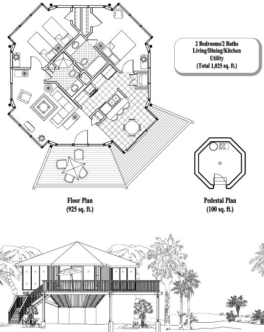 Prefab Homes House Plan: 2 Bedrooms, 2 Baths, 1025 sq. ft., Pedestal Collection (PD-0307) by Topsider Homes - a little revision on the bathrooms to reflect our personal desires, pale yellow with aqua trim, windows-windows-windows!, and one more deck section - yep, that could be our dream home!  Now if we can just hold out one more year!