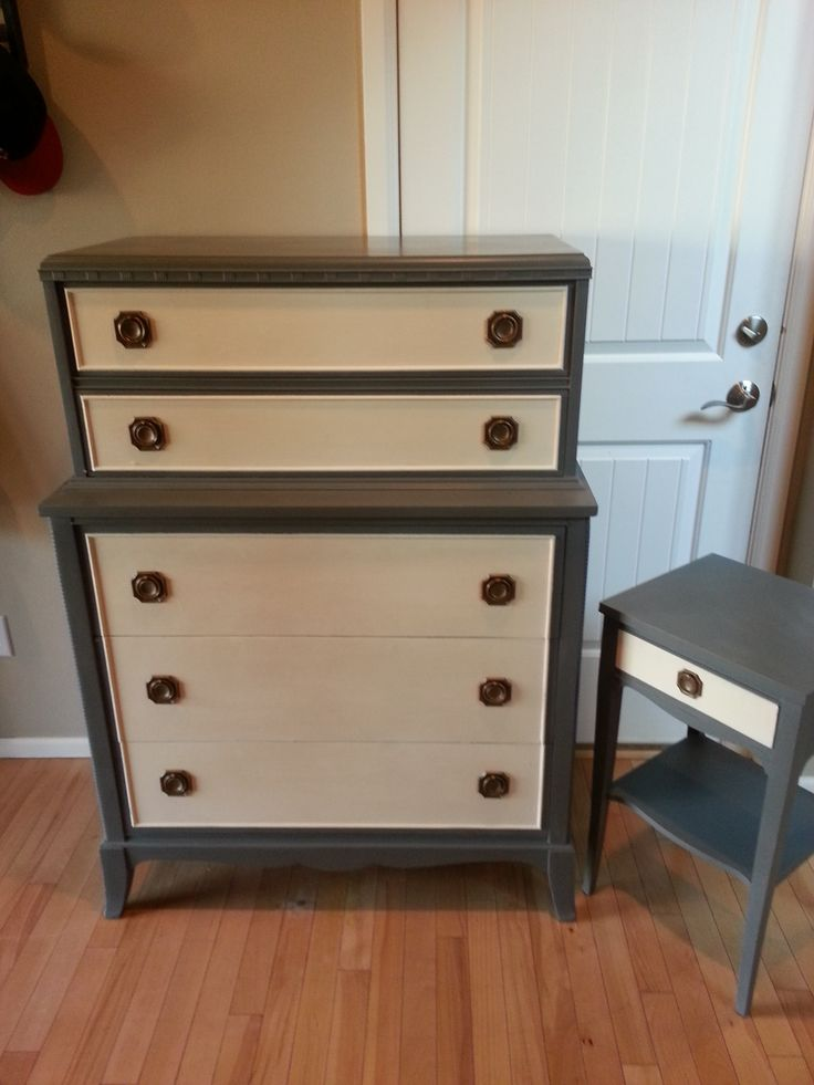 1940u0027s Bedroom Dresser And Night Stand Made By Thomasville Chair Co.  Refinished In Confederate Grey
