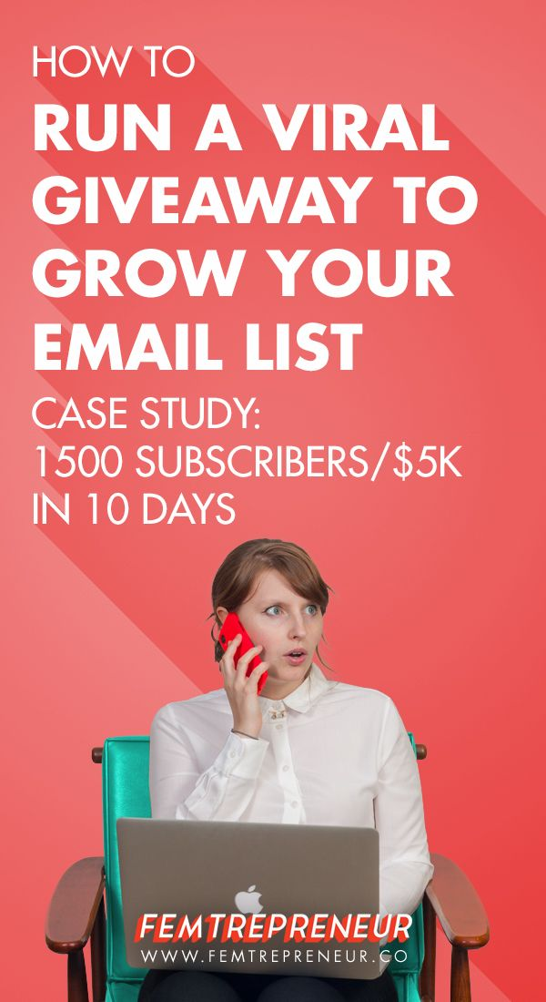 "I'm excited to be taking you behind the scenes today for this case study  about how to run a giveaway that gets 1500 new email subscribers and makes  you $5k in profit (yep - I actually MADE money by giving away $1500 worth  of stuff!).     A few weeks ago, I did my first ""viral"" giveaway.  I had some HUGE goals for this giveaway - based on my research and other  case studies I had read (with wide eyes and probably some drool too) I  could potentially expect tens of thousands of new email…"