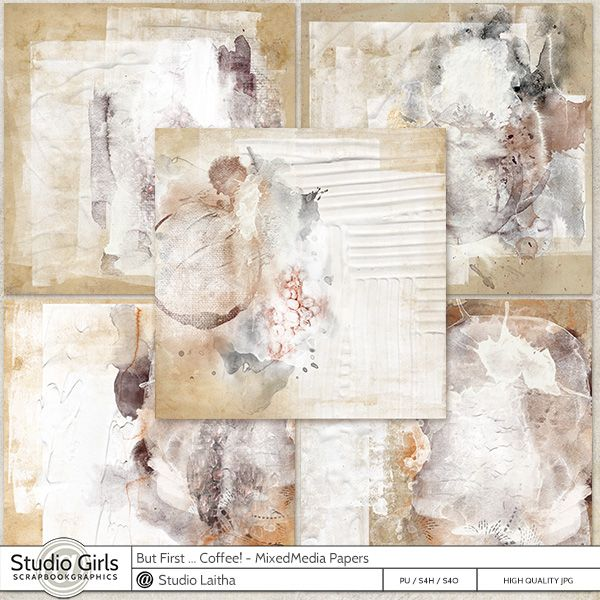 But First .. Coffee! -  Mixed Media Papers