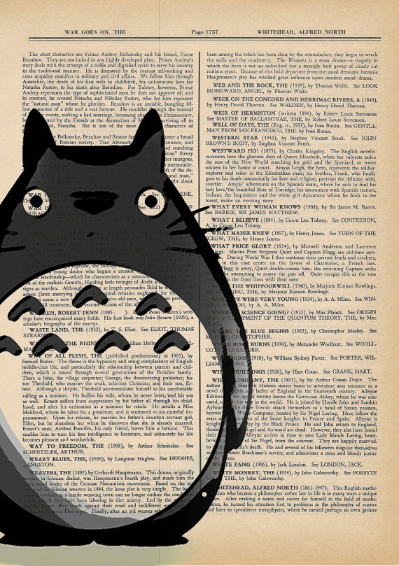 My Neighbor Totoro Studio Ghibli Art Print on an Antique Upcycled Bookpage. $7.00, via Etsy.