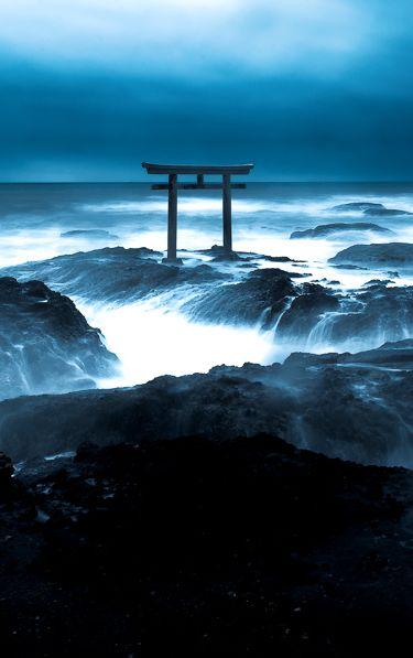 大洗磯前神社 茨城県 Torii Gate, Oarai Isosaki Shrine, Ibaraki, Japan