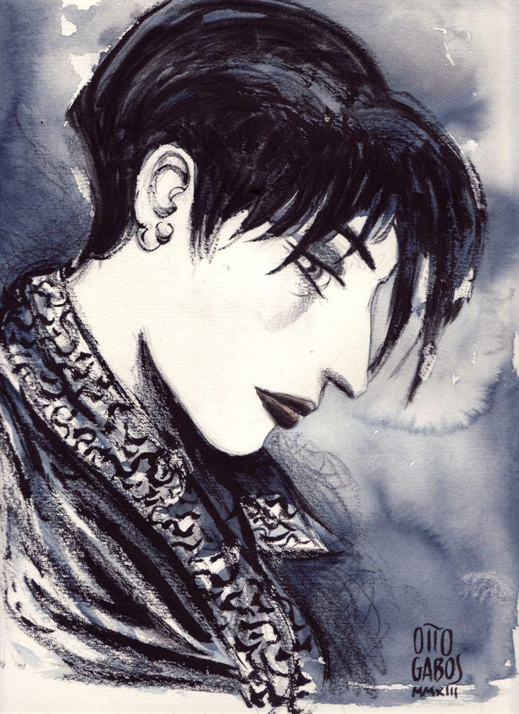 """Ritratto di Antonia. Ispirato ad Antonia Monanni dall'antologia """"Niente da capire"""" di Luigi Bernardi, Perdisa Pop, 2011. China e acquerello su carta."""