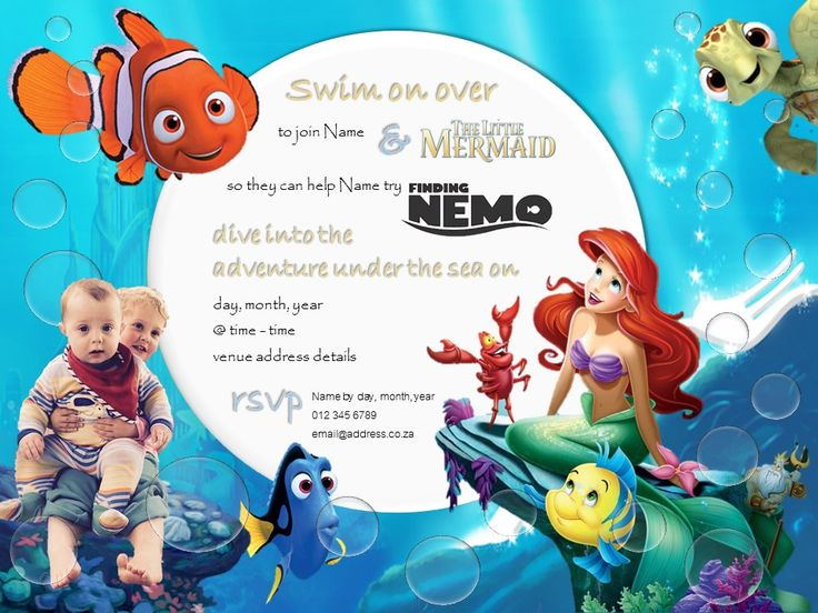 Under the Sea Themed Party combining The Little Mermaid for a girl and Finding Nemo for a boy for a joint birthday party