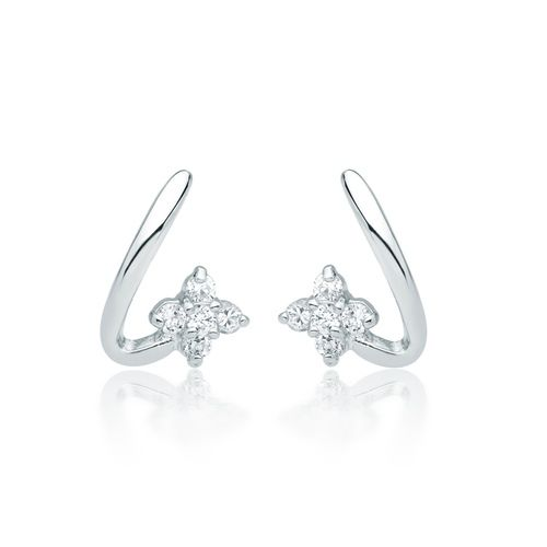 Letter L Stud Earring with Cubic Zirconia