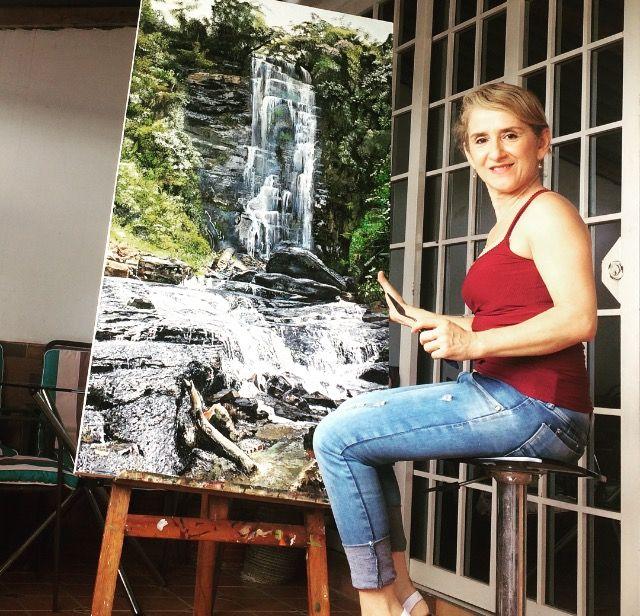 "Cuadro  original al oleo#pisaje Natural ""cascada la chaguata-Oiba SANTANDER-COLOMBIA#70/140#por M. Calderon"