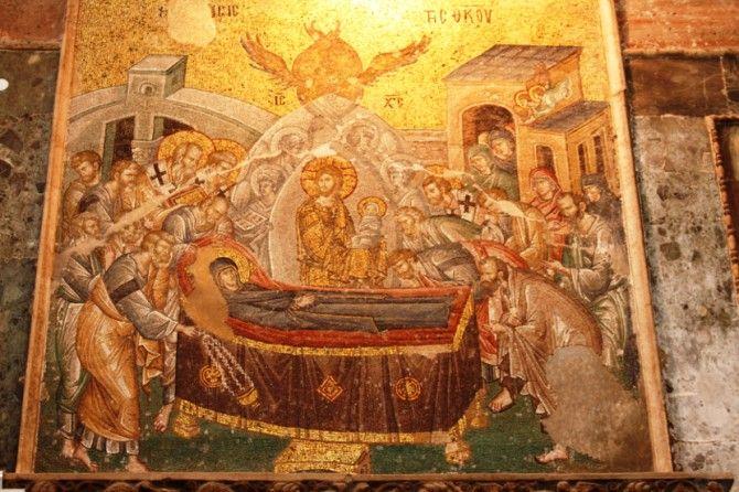 Успење Пресвете Богородице, византијски мозаик цариградске цркве Христа Спаситеља у Пољу