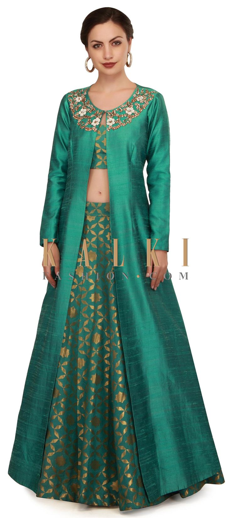 Teal green lehenga with neckline embroidered jacket only on Kalki