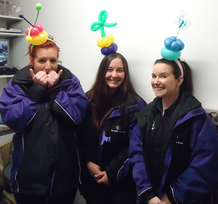 Some of our staff wearing balloon headbands as learnt from Ozjam in Sydney 2014- a balloon convention for decorators & twisters.  www.thepartyshere.com.au