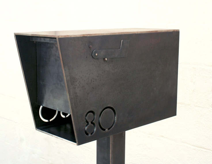 MB2 Modern Mailbox with Address Numbers. $475.00, via Etsy. More than I'd want to spend and without a stone element, but still awesome