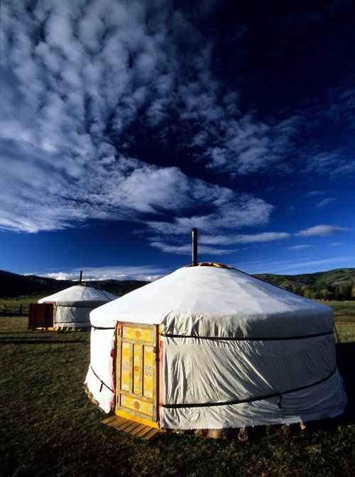Yurts on the Mongolian steppe
