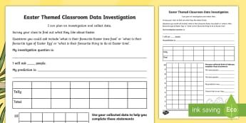 Year 3 Easter-Themed Classroom Data Investigation Activity Sheet - Australia Easter Maths, Easter, Australia, mathematics, year 3, data, data collection, worksheet, su