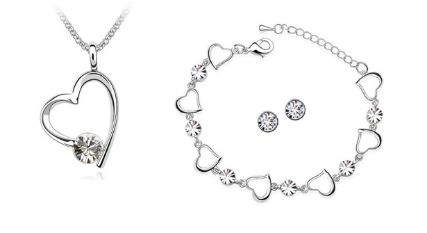 Gorgeous Valentine's gift! 84% off necklace, bracelet and earring set adorned with sparkling Swarovski Elements crystals.