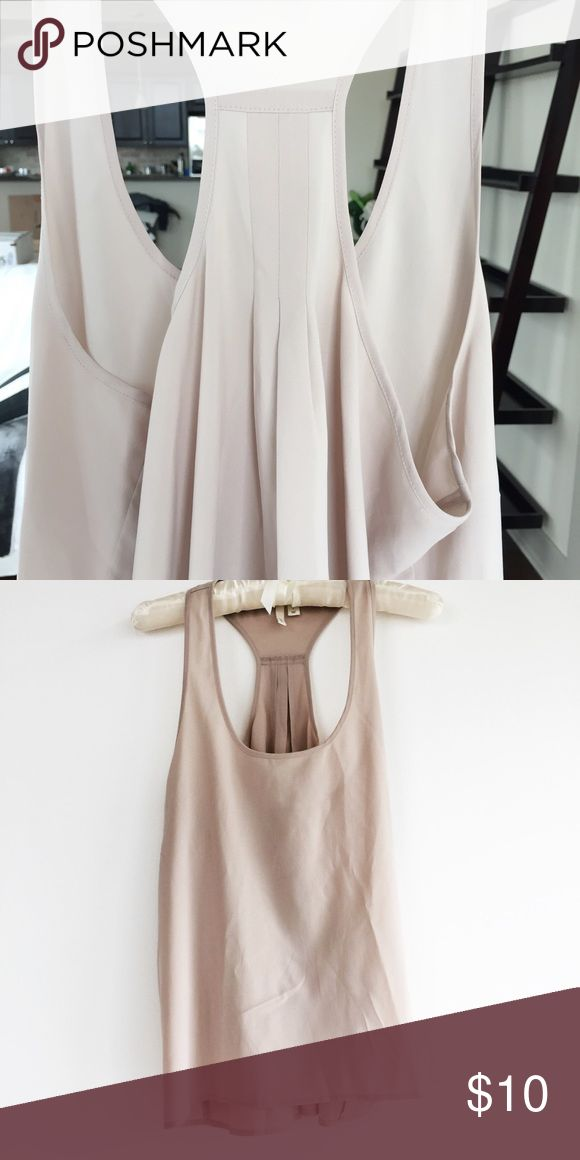 Frenchi/Nordstrom, Taupe color Silky Racerback Top Frenchi Silky top from (Nordstrom) Taupe racerback top. Perfect for going out and for work under a blazer. Flowy back. Great condition- barely worn. Frenchi Tops Tank Tops