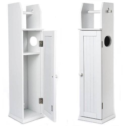 Floor Standing White Wooden Toilet Paper Roll Holder Bathroom Storage Cabinet Furniture To Build Pinterest
