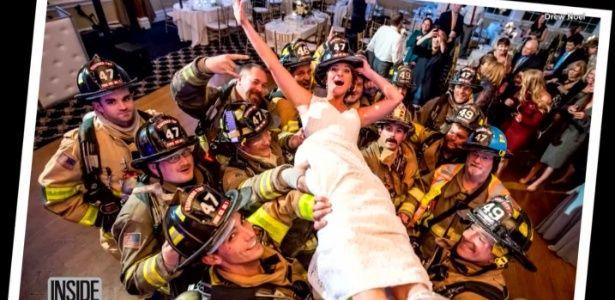 Bombeiros evacuam casamento, e noiva aproveita para tirar foto épica!
