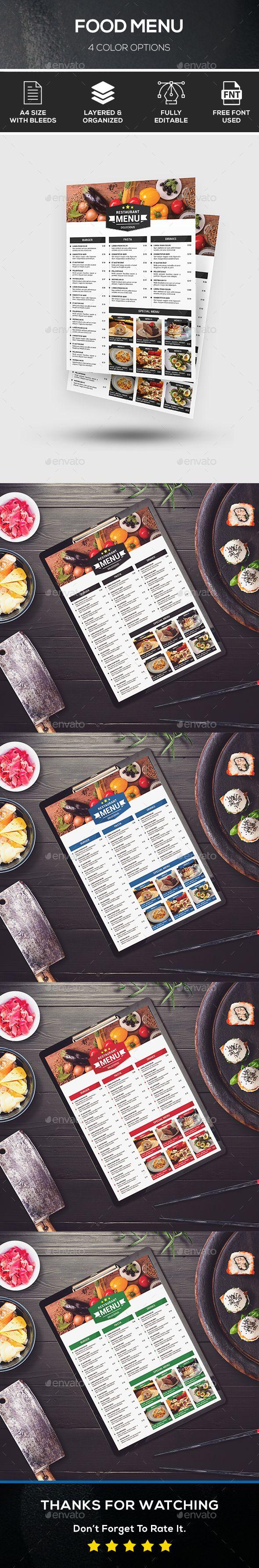 Food Menu Template PSD - 4 Color Options
