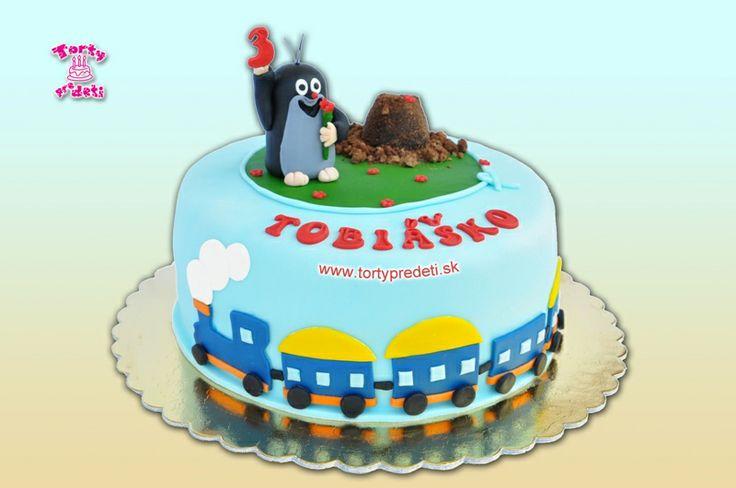 Torta krtko a vláčik na 3 roky | Torty pre deti Žilina - detské, marcipánové, 3D, a iné torty na objednávku