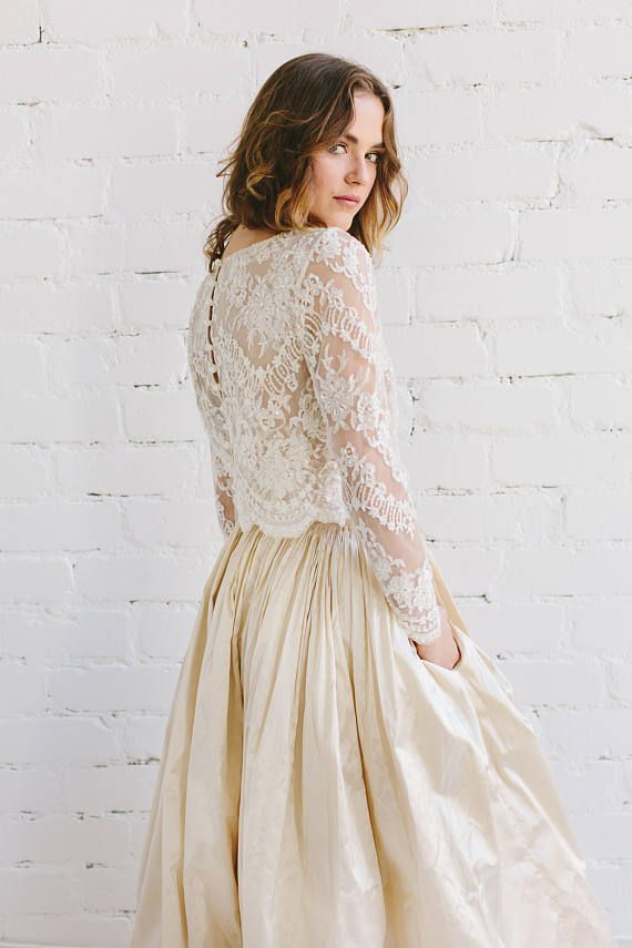 d0d2859c1d55 Bridal Lace Top in Champagne , Ivory Beaded Lace Wedding Top with ...