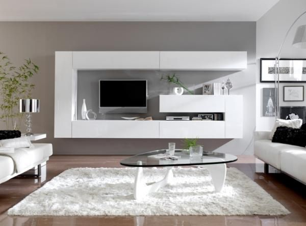 Contemporary Wall Storage System in White or Black High Gloss