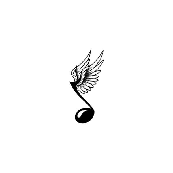 music note with wings ❤ liked on Polyvore