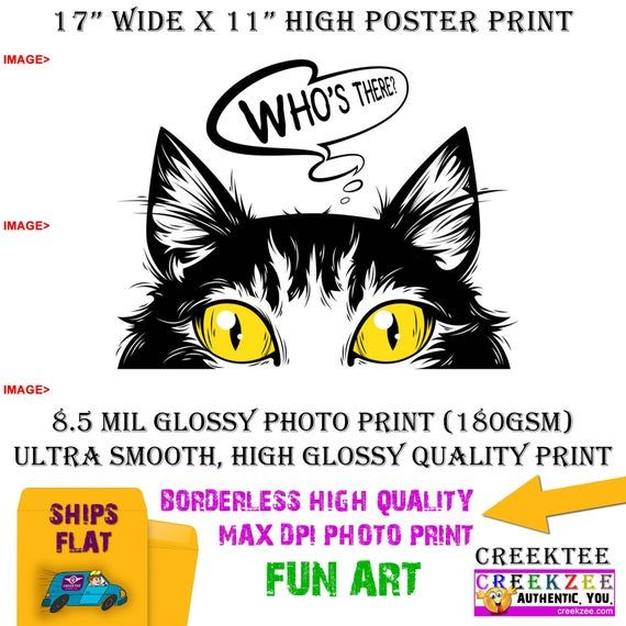 11x17 Poster Photo Print Art Of Who S There Cat Peeking Poster Landscape Orientation High Quality Glossy Smooth Photo Print In 2020 11x17 Poster Photo Printing Photo Posters
