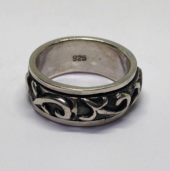 Spinner Ring Sterling Silver Celtic Rotating Spinning Ring