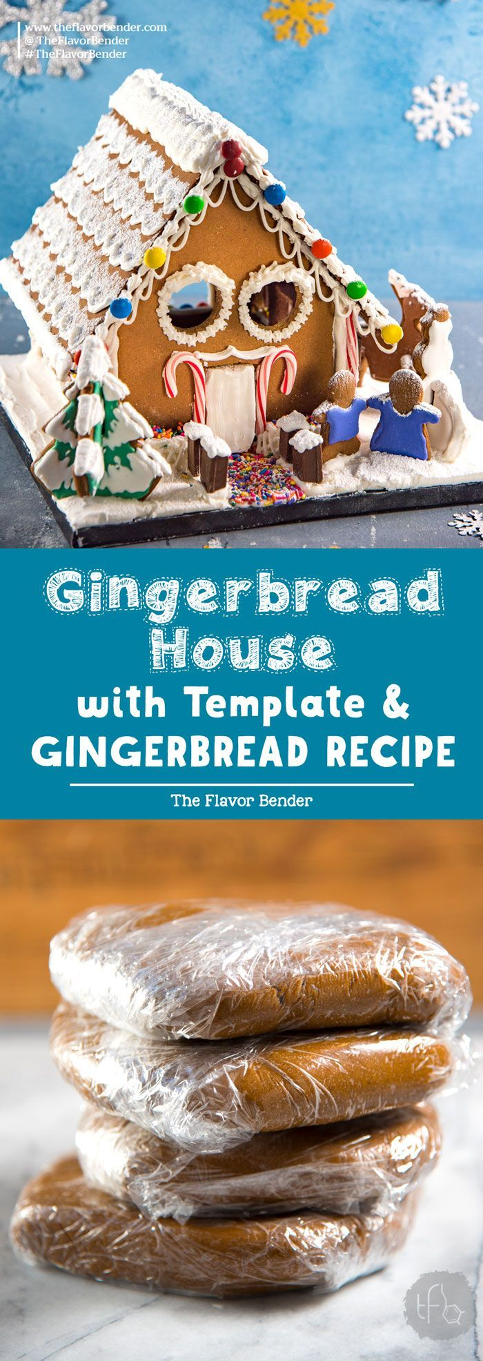 Gingerbread House with template and gingerbread recipe - an easy gingerbread house template perfect to build and decorate with family!