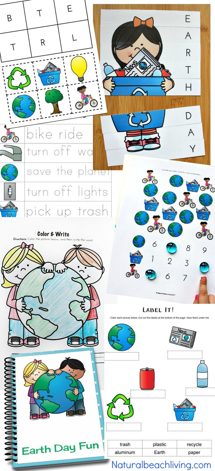 Earth Day Activities Preschool & Kindergarteners Love, Free Earth Day Printables, Recycling activities, Coloring pages, Alphabet puzzles, Fine motor work