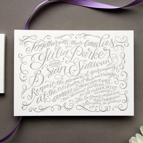 Julienne Calligraphy letterpress wedding invitation suite