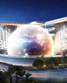 Rendering of Miami Science Museum by night, with planetarium prominent. Credit Grimshaw Architects and dbox. Copyright dbox.