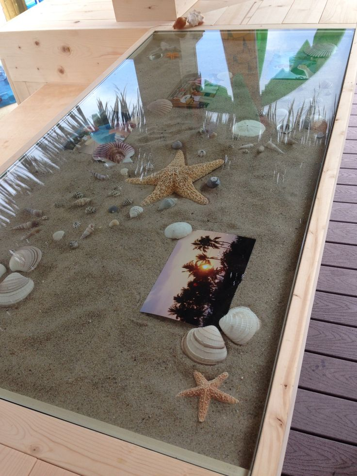 Personalized the tiki bar counter by adding a glass top with sand, shells and photos in it.