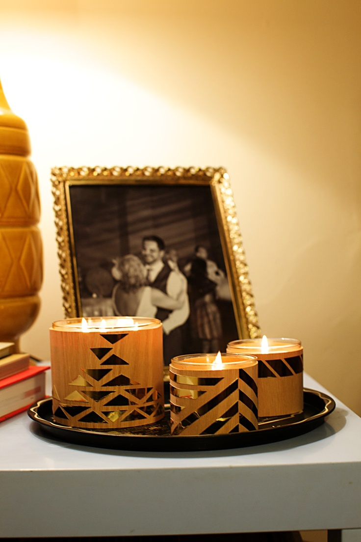 Project #3 from @Michelle Edgemont: Wood Veneer and Metallic Candle Covers