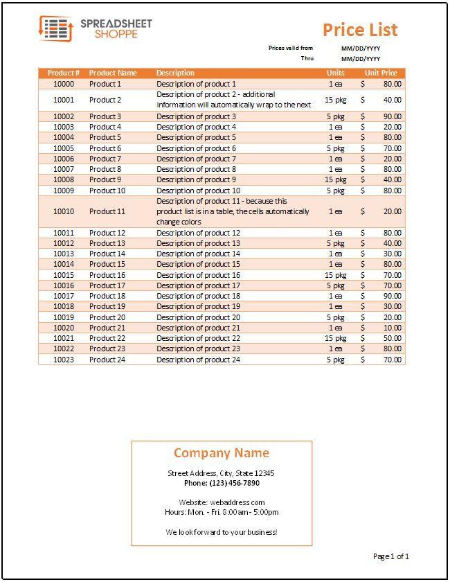 distributor price list template