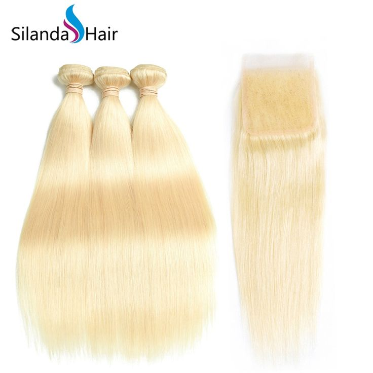 Silanda Hair Pure Blonde #613 Straight Human Hair Weave Weft 3 Bundles With 4″X4″ Lace Closure