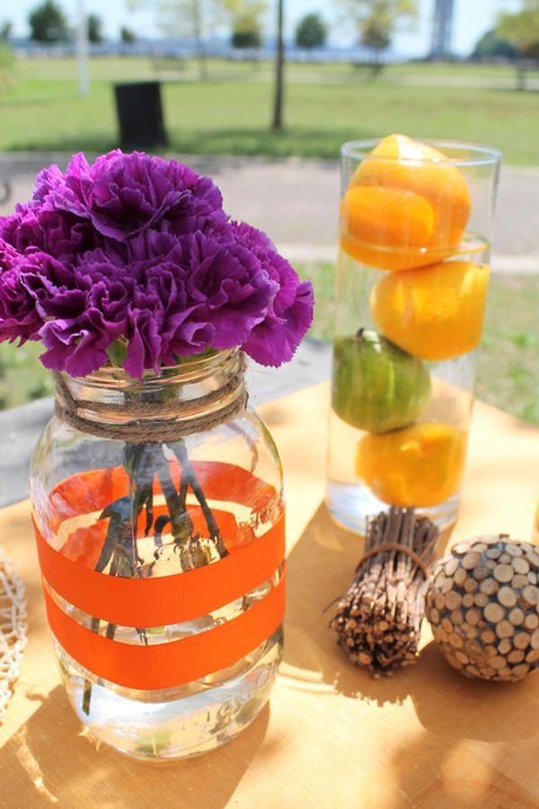 Simple summer party centerpiece (fruit and jars.) #partypail