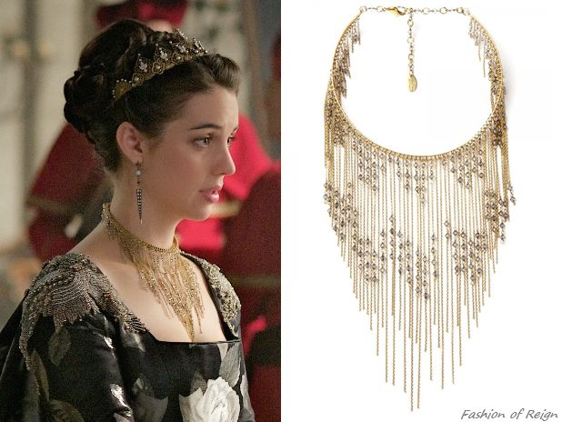 "In the episode 3x11 (""Succession"") Queen Mary wears this Erickson Beamon 'Ballroom Dancing' Gold-Plated Swarovski Crystal Necklace ($1,250 $1,000).Worn with the Reign Costumes custom gown, Rabbitwood & Reason tiara, Gillian Steinhardt labyrinth and signet rings."