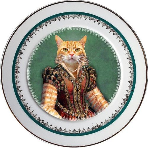 Lady Red Plate - Altered Antique Porcelain Plate - Collectors Item - Art