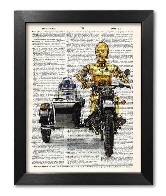 Star Wars Art Print, C3PO + R3D2, Star Wars Poster, Star Wars Funny Poster, Gift for boyfriend, Dictionary art, Gift for Men [ART 205]
