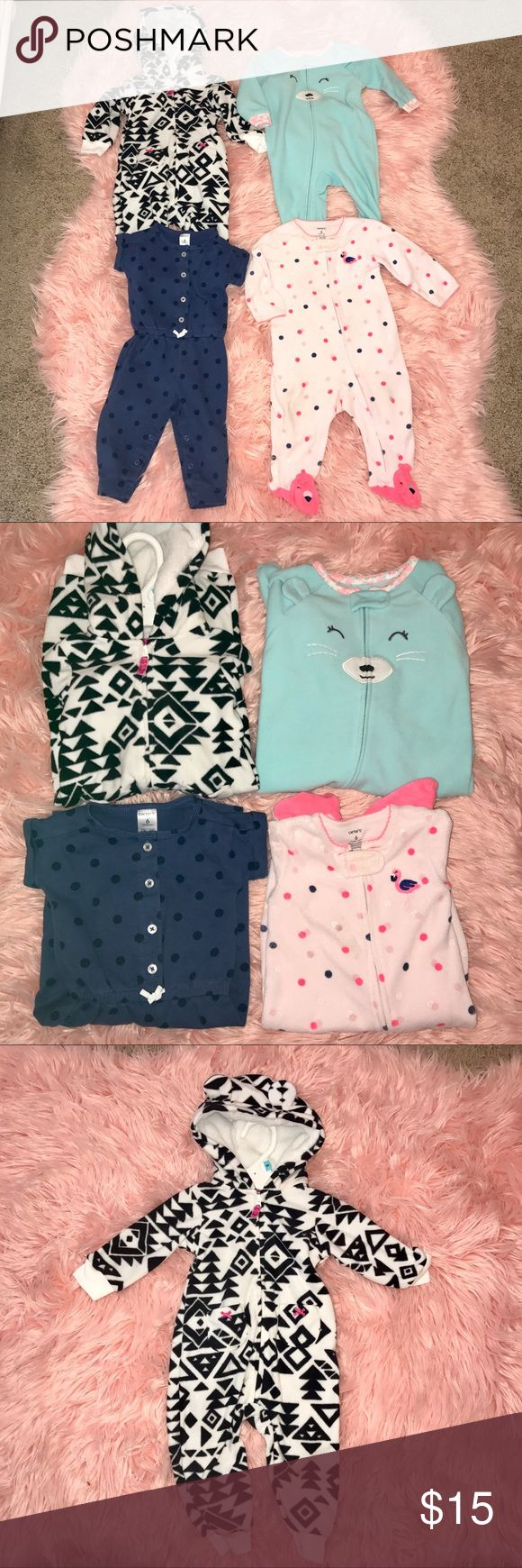 Carter's 4 Piece Sleep and Play Bundle Carter's Sleep and Play Bundle. This comes with 4 pieces- the first is a black and white Aztec fleece zip up Jumpsuit with hoodie and pockets. Perfect for layering in fall, winter or early spring! Second is a light teal fleece zip up Footed pajama, the next is a blue and navy polka dot short sleeve sweatshirt material Jumpsuit, with snap up bottom, and lastly a pink and polka dot Flamingo terry cloth Footed pajama zip up with flamingos on the feet…